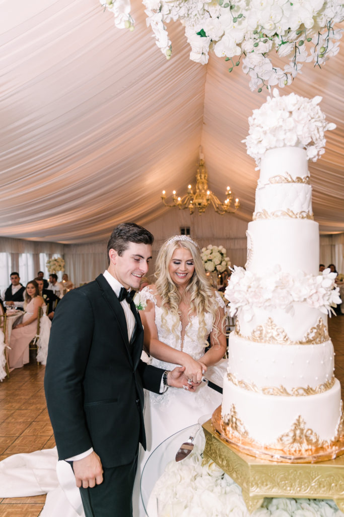a bride and groom cut their 6-tiered cake at their Grand Island Mansion wedding