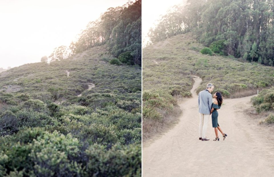 beautiful couple and scenery during Marin County engagement photos
