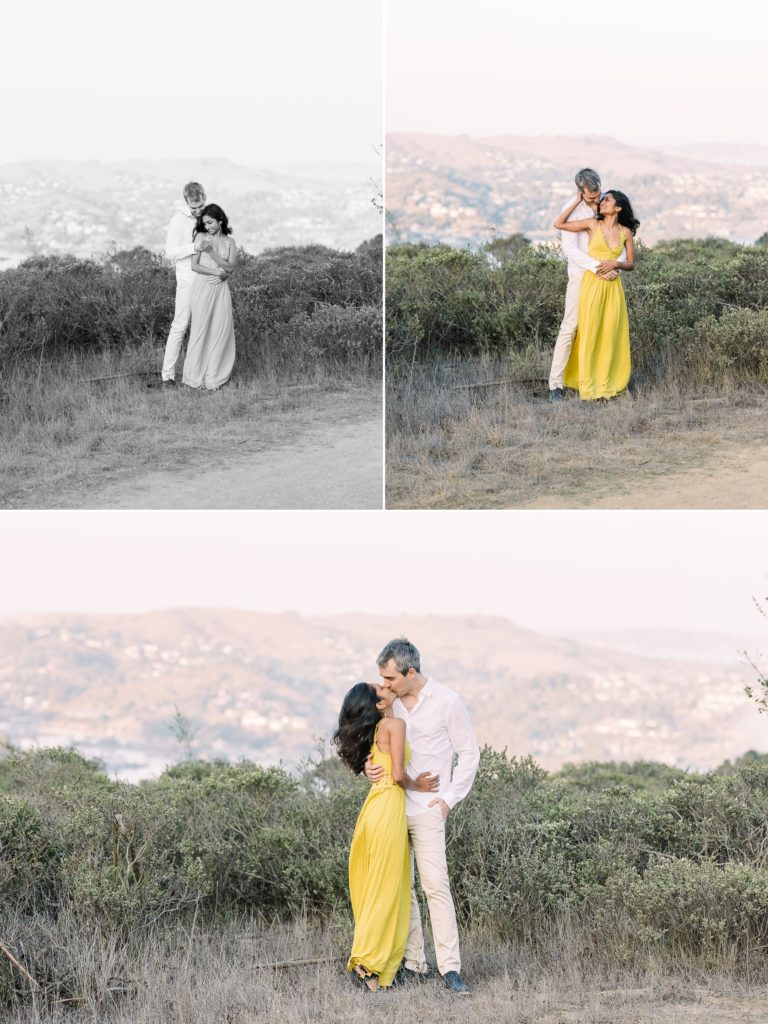 a couple enjoys the views of the valley during their Marin County engagement photos