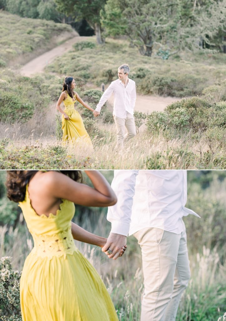 a couple walk through the weeds during their Marin County engagement photos