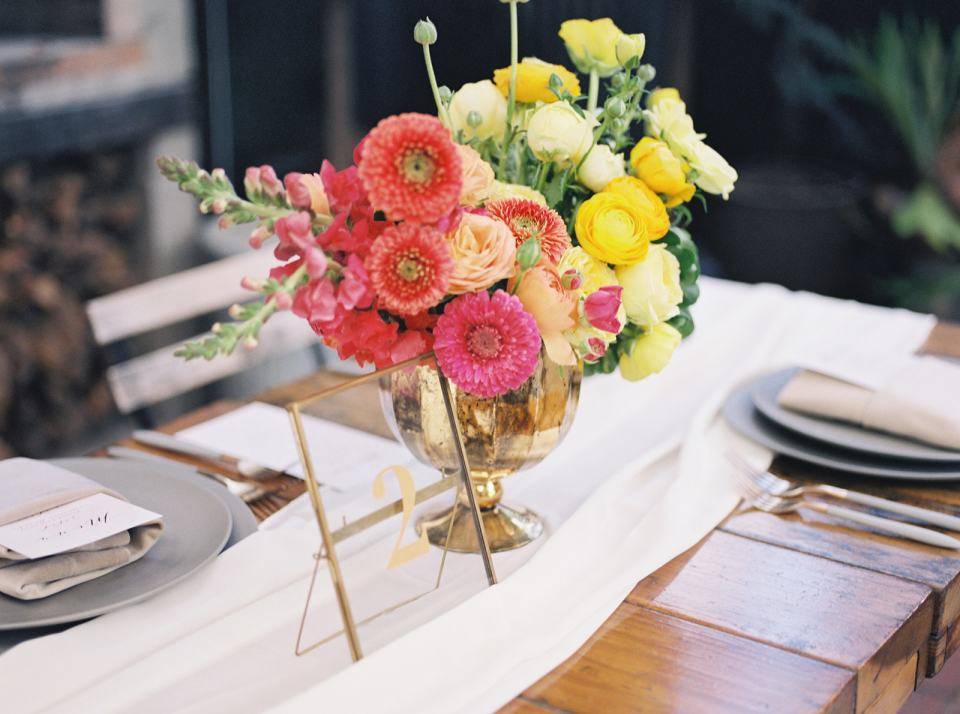 beautiful bouquet on a table at Stable Cafe in San Francisco