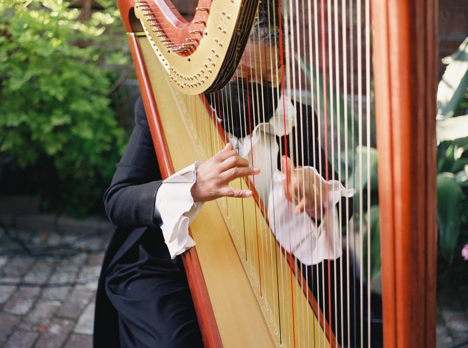 a harpist plays at Stable Cafe in San Francisco