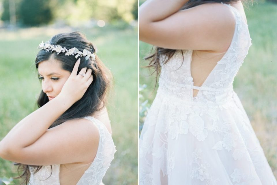 bride fixes her hair during her photos at her Dunbar House wedding