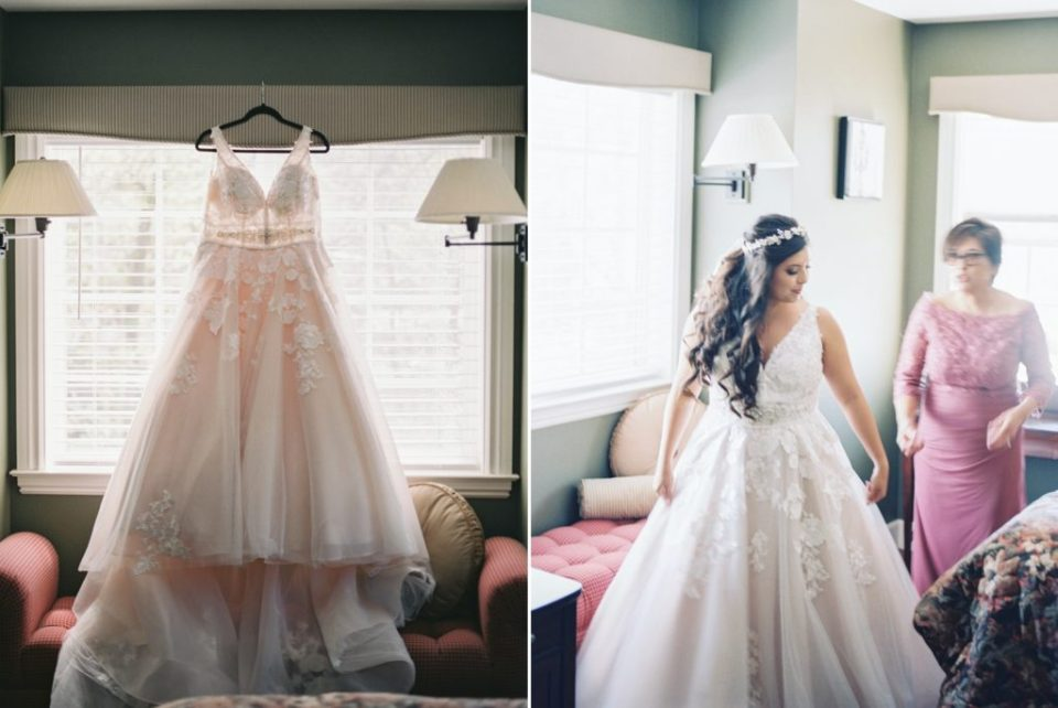 a bride gets dressed for her Dunbar House wedding