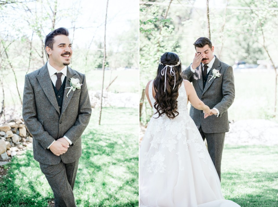a bride and groom see each other during their first look before their Dunbar House wedding