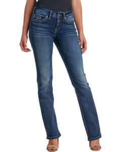 Dark Wash Slim-Boot Cut Jeans with whiskers