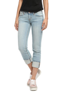 cropped, cuffed jeans in light wash