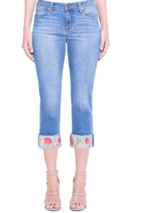 floral embroidered, frayed cuffed crop jeans