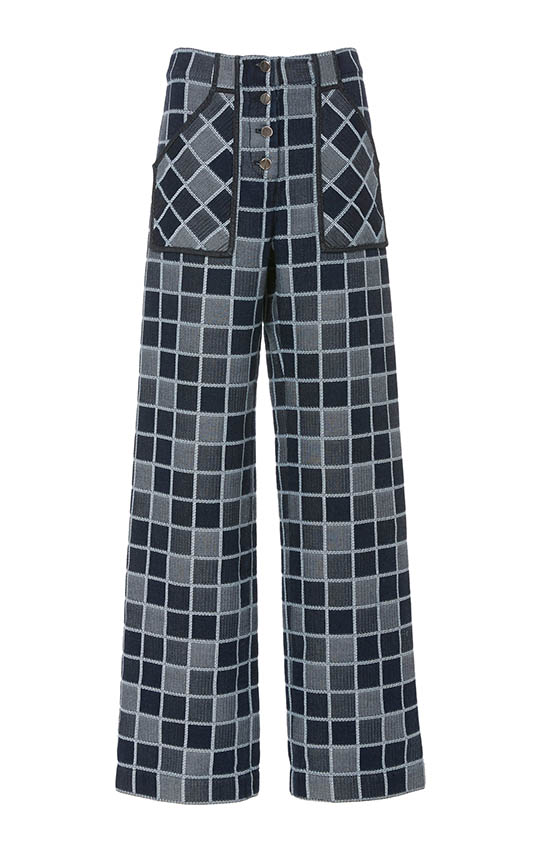 Casual jeans outfit idea. Rosetta Getty Checkered High-Rise Wide-Leg Jeans.