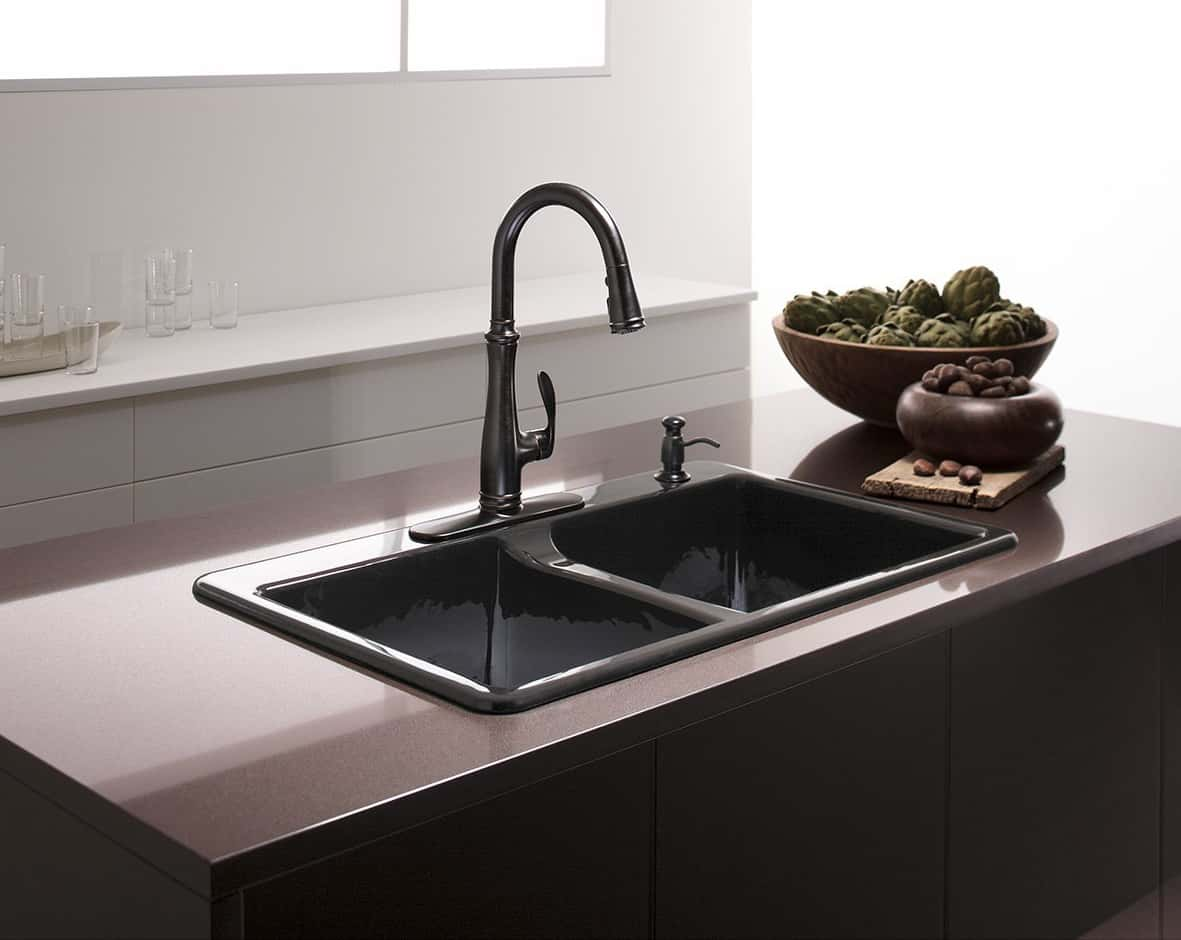 kohler cast iron kitchen sink make table sinks buyer s guide design ideas pictures basin k 5873 4 0 deerfield
