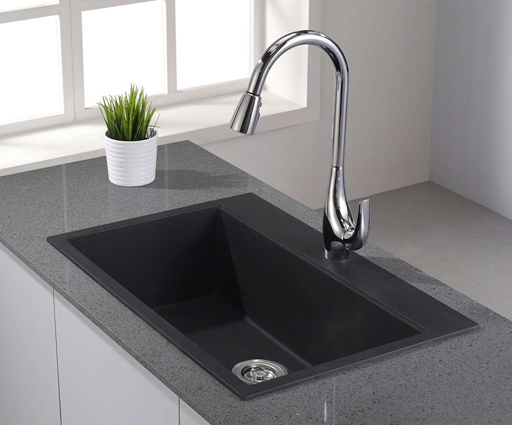 black sink kitchen pull up cabinets granite composite sinks buyer s guide design ideas pictures kraus kgd 412b