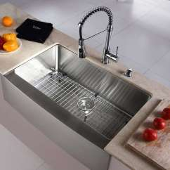 Stainless Kitchen Sinks Glass Subway Tile Steel Buyer S Guide Design Ideas Pictures Kraus Khf200 33 Farmhouse Single Bowl