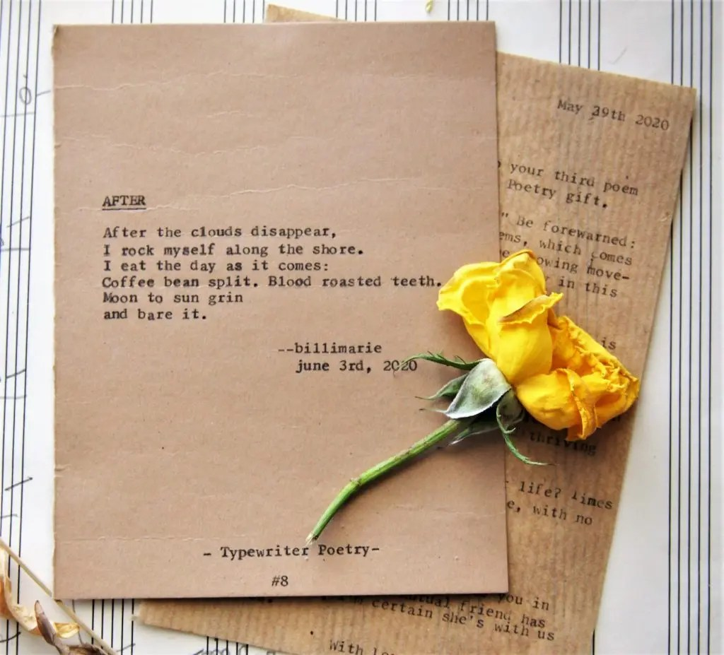 "Poetry Care Package: ""After"" Typewriter Poetry with Yellow Rose & Letter"