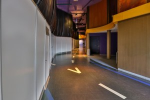 All walled-off area of Innoventions covering the damage left by the hurricane.