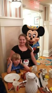 Minnie Mouse Disney World Cape May Cafe smiling mom and boy