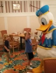 Donald Duck at Cape May cafe dancing