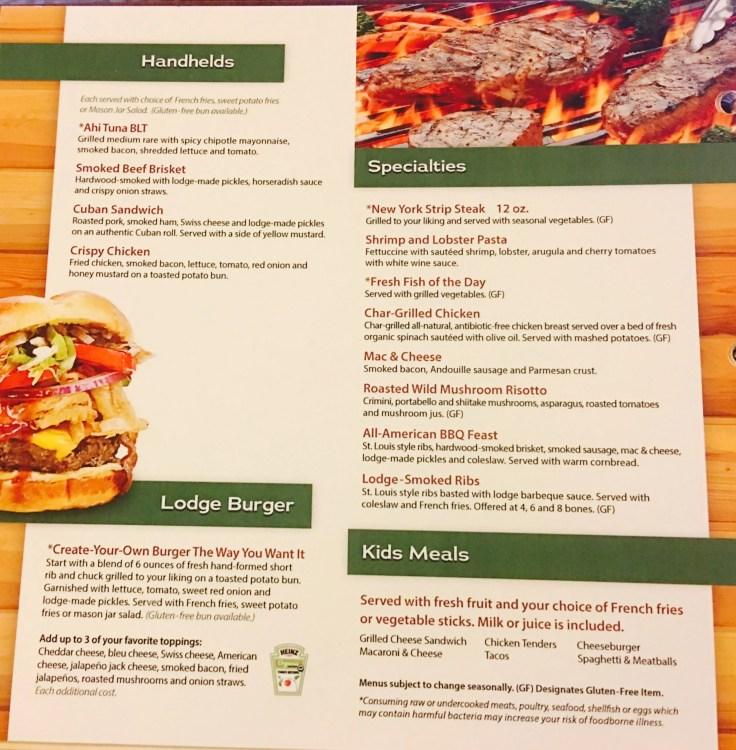 Great wolf lodge gluten-free menu