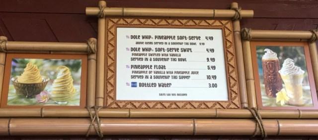 Pineapple Lanai menu dole whip float swirl soft serve price snack credit Disney dining plan