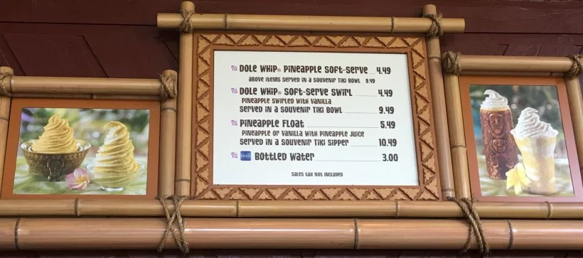 Pineapple Lanai menu dole whip float swirl soft serve price snack credit Disney dining plan