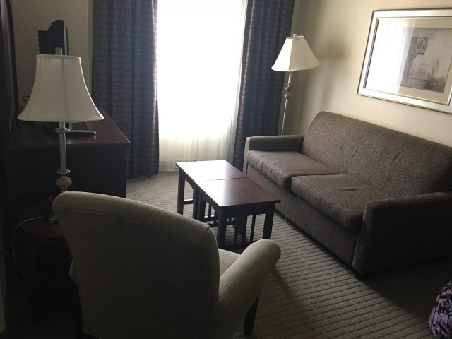 Staybridge Suites in Stow Ohio review sofa bed, living room, television, tv