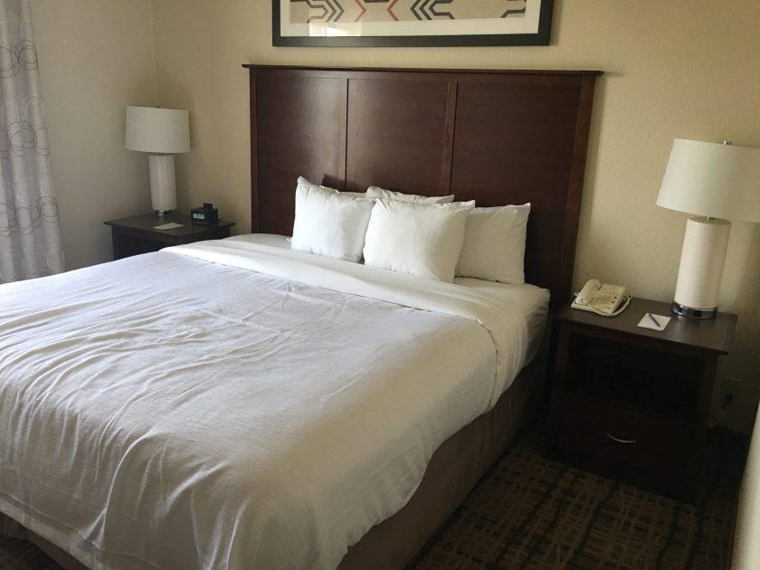 Embassy Suites Beachwood Ohio king bed suite, bedroom