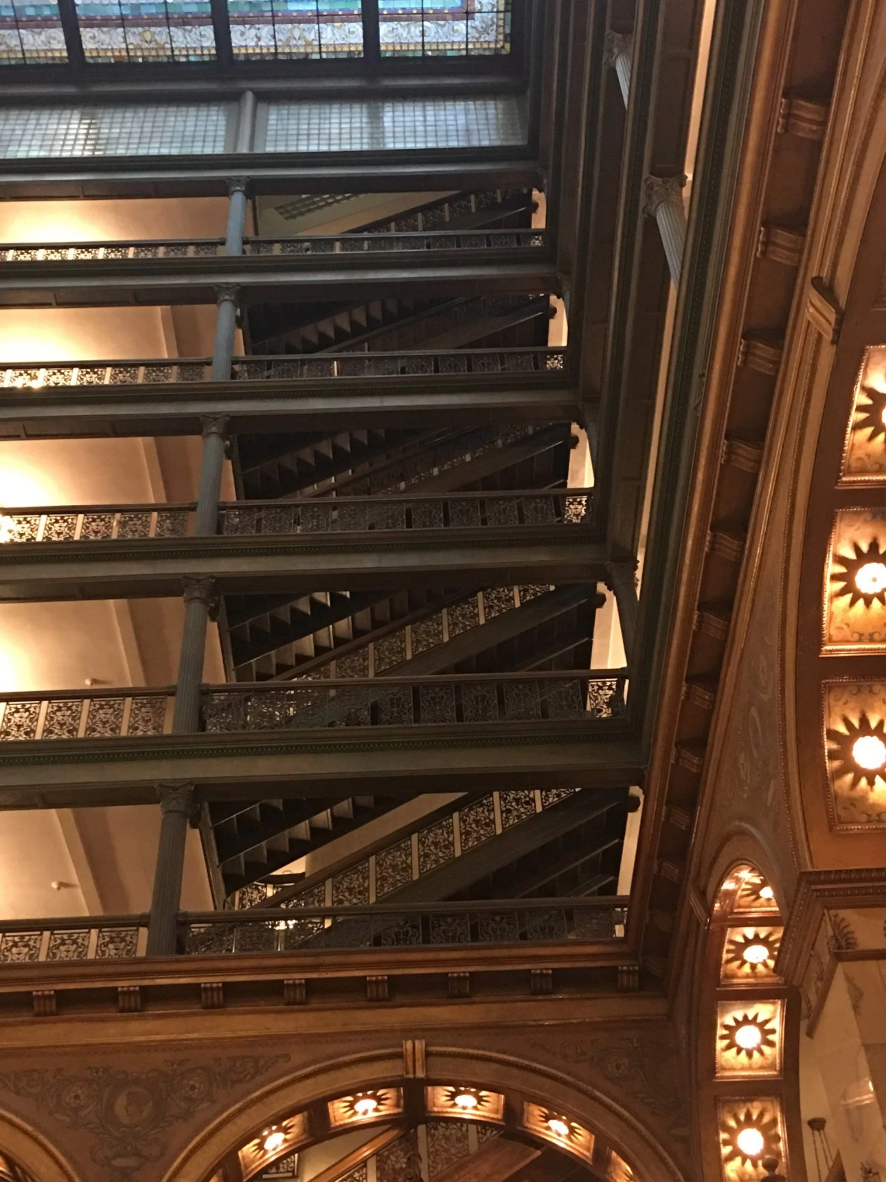 Interior upward view of the Brown Palace atrium