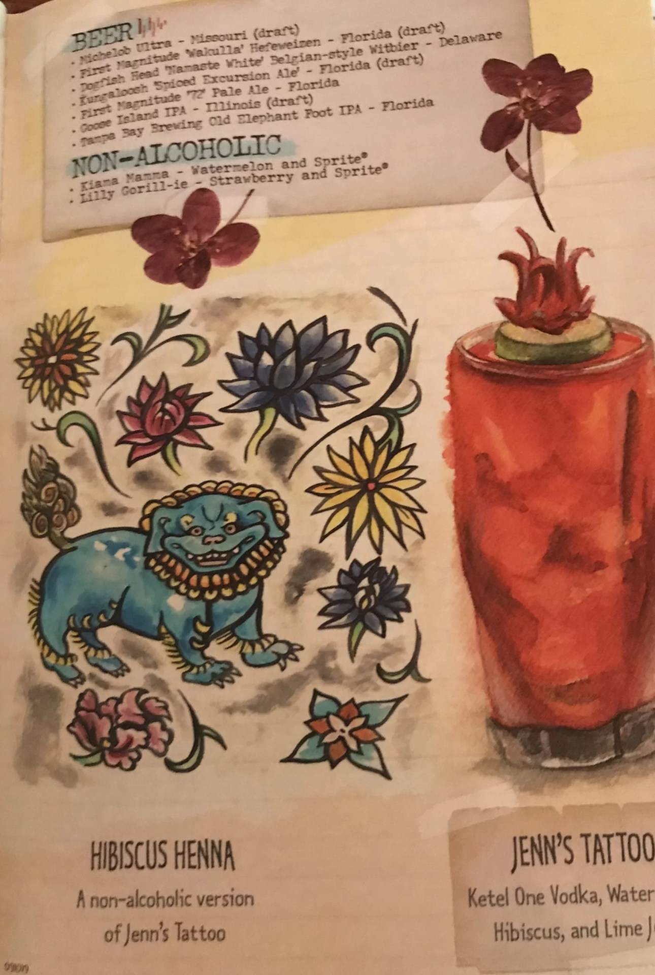 Jenns Tattoo in Cocktail Book at Nomad Lounge
