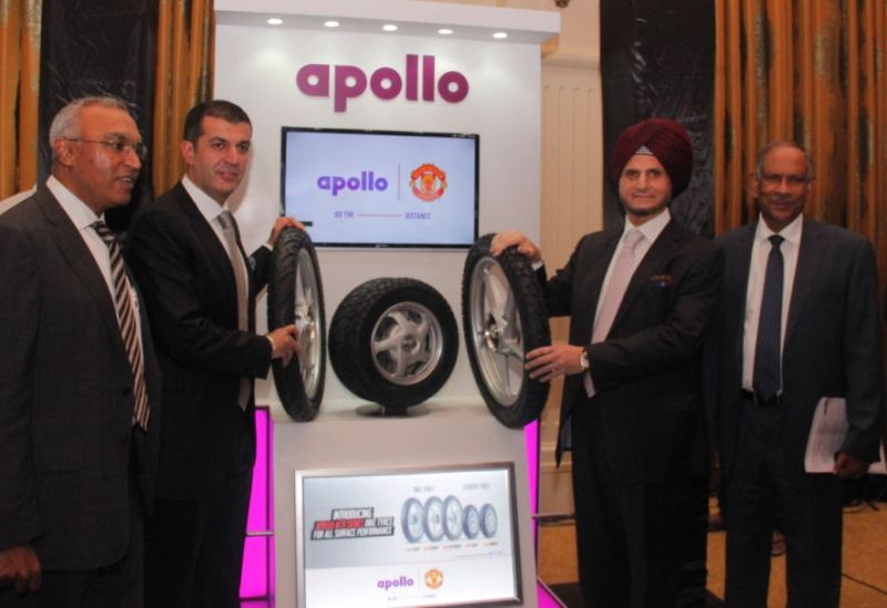 Satish Sharma, president of Apollo Tyres' Asia Pacific, Middle East & Africa region, company chairman Onkar S Kanwar, vice-chairman and managing director Neeraj Kanwar and P K Mohammad, chief advisor, research and development at the launch of the Acti range
