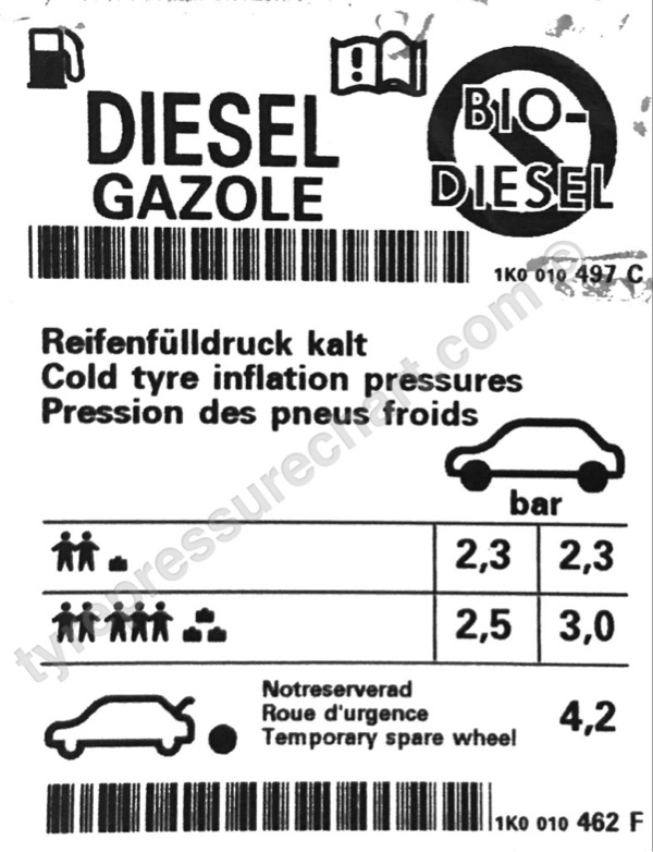 Volkswagen Golf TDI 140 2012 tyre pressure settings