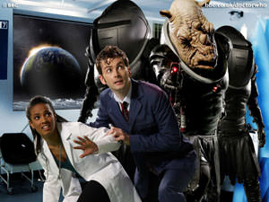 Doctor Who with Martha and the space rhino
