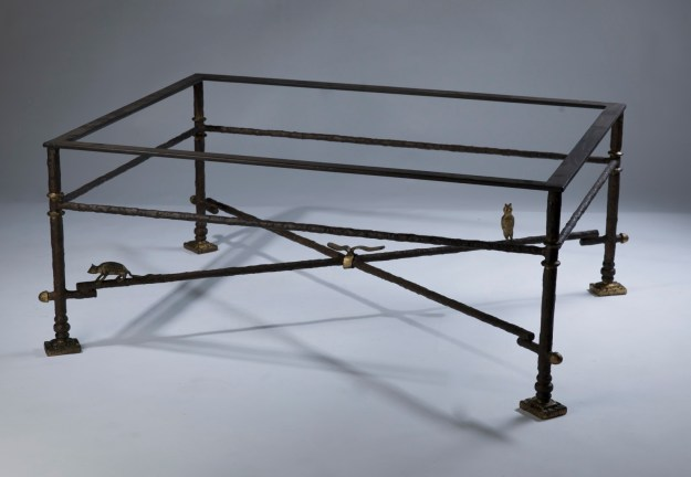 wrought iron coffee table in brown bronze, distressed gold