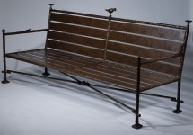 Wrought Iron Benches With Natural Linen Cushions T3545