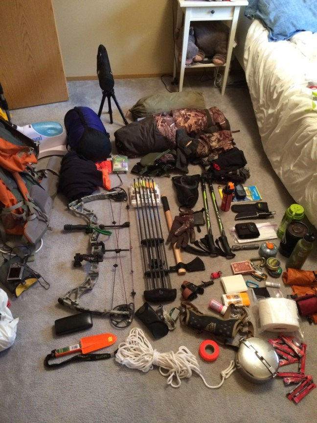 Most Of My Gear On The Spare Bedroom's Floor.