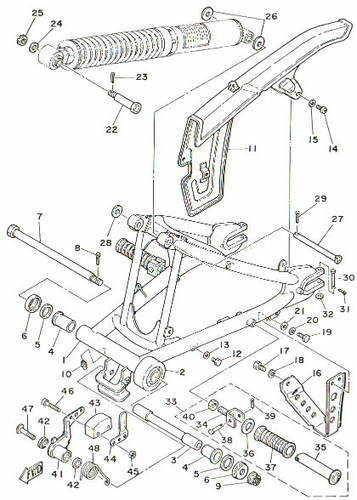 DT250 Swinging Arm Parts