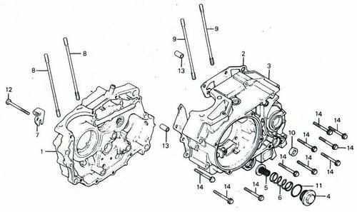 TLR200 Crankcase & Oil Filter Parts