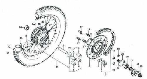 TLR200 Rear Wheel Parts
