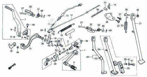 TLR200 Stand Footrest Kickstarter Gear Lever & Brake Pedal