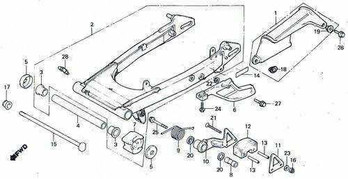 TLR200 Swinging Arm & Chain Tensioner Parts