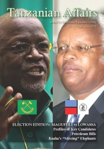 Cover features CCM presidential candidate, John Magufuli (left), and CHADEMA / UKAWA candidate, Edward Lowassa (right).