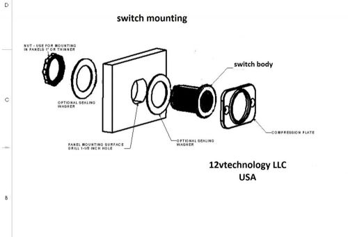 ETA 41-11-P10 Red 2 position rocker switch 4111P10