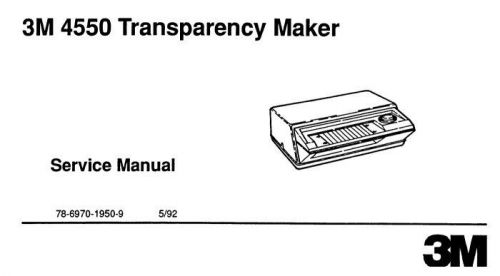 3M 4550 Transparency Maker Service and Parts Manual FIX