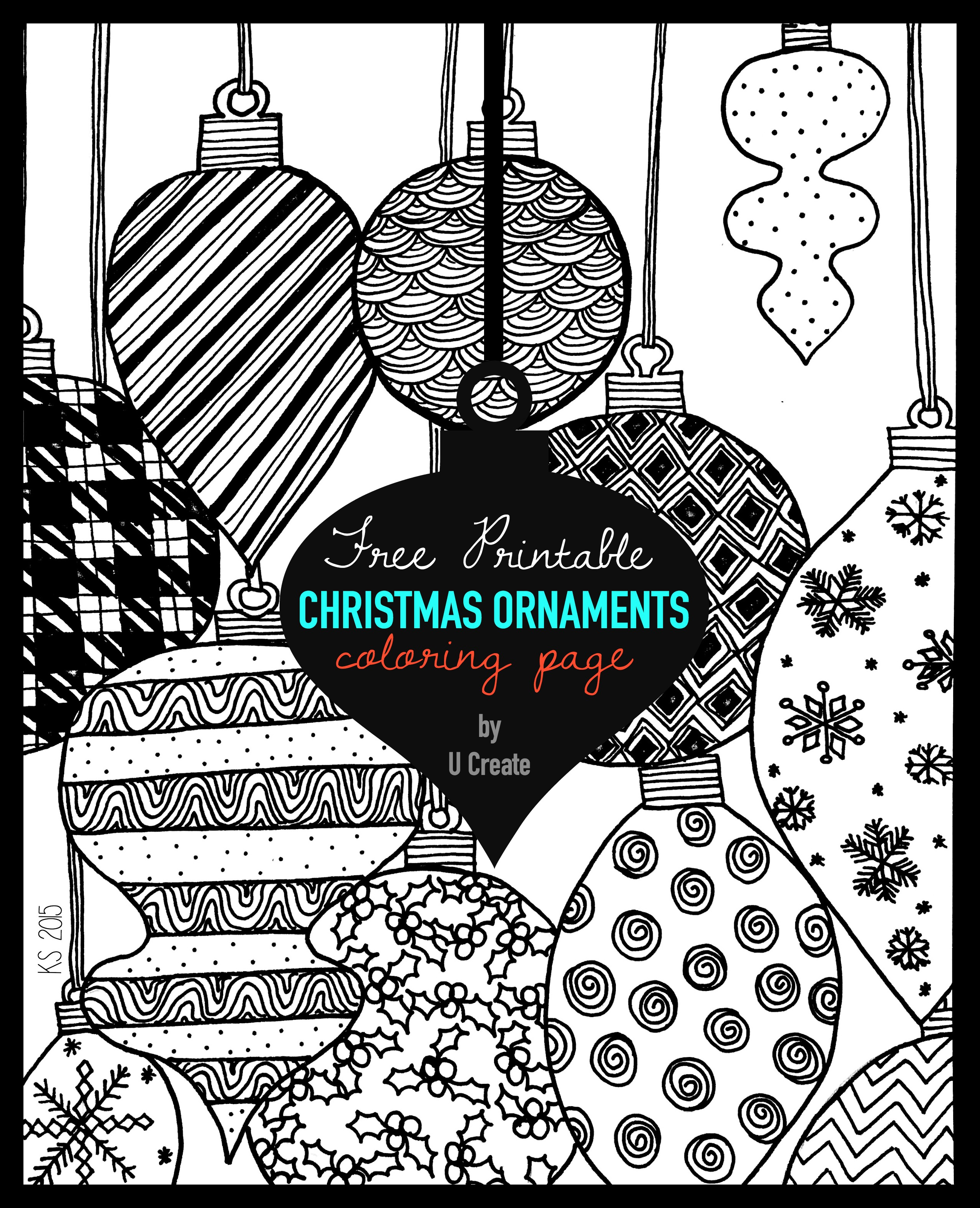 Christmas Ornaments Adult Coloring Page