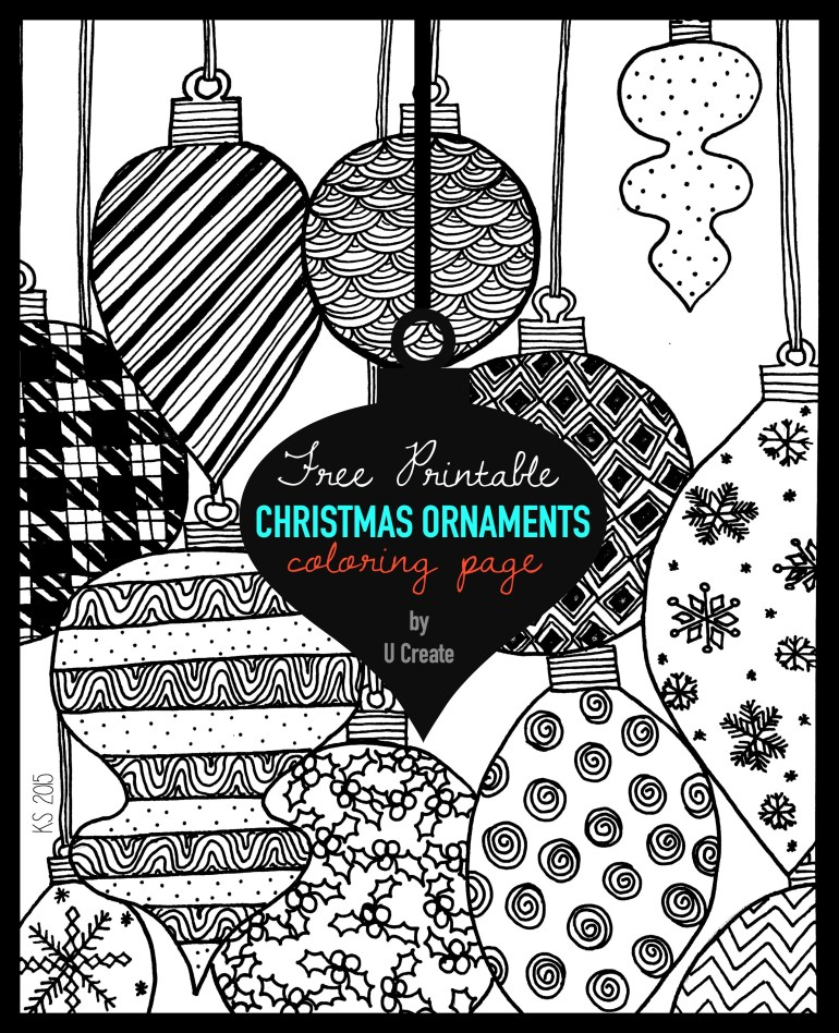 Christmas Ornaments Adult Coloring Page - U Create   free printable christmas coloring pages for adults