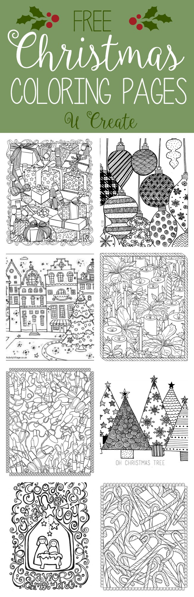 hight resolution of Free Christmas Adult Coloring Pages - U Create