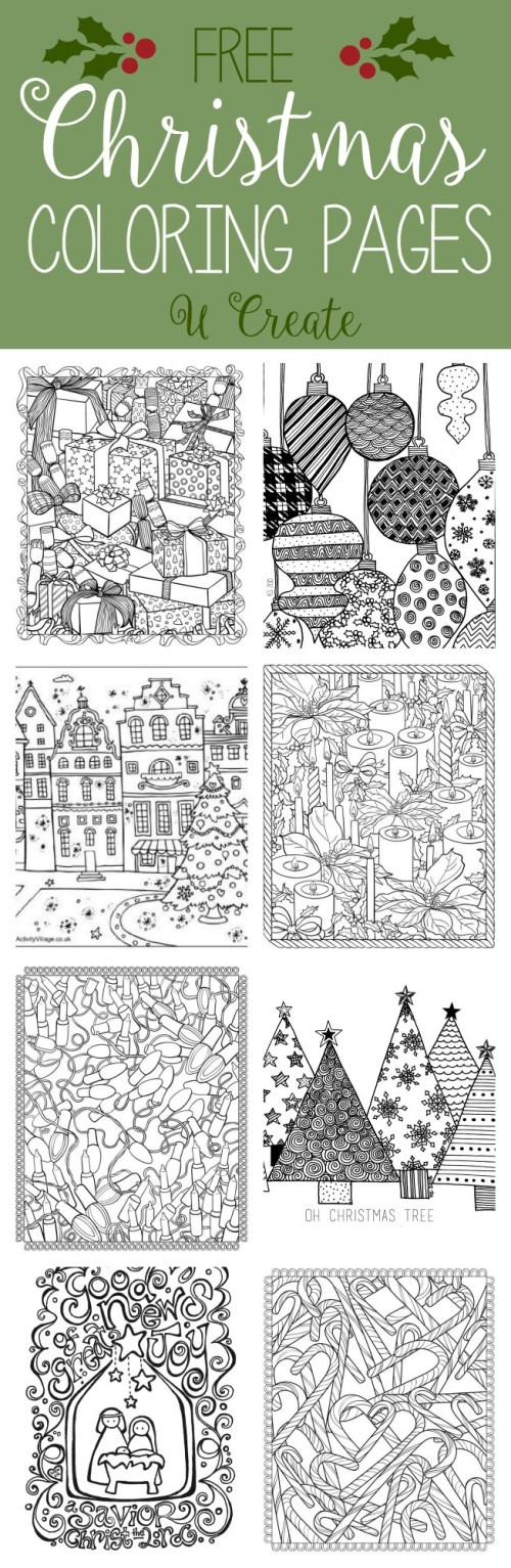 small resolution of Free Christmas Adult Coloring Pages - U Create