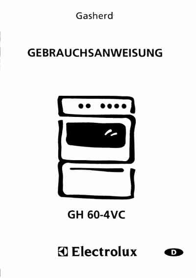ELECTROLUX GH604VCWE Cooker/ stove download manual for