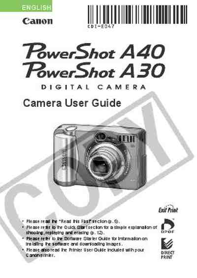 CANON POWERSHOT A40 The camera/ Camera download manual for