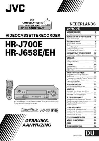 JVC HR-J658EH Video Recorder download manual for free now