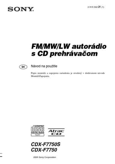 SONY CDX F7750 Car radio download manual for free now