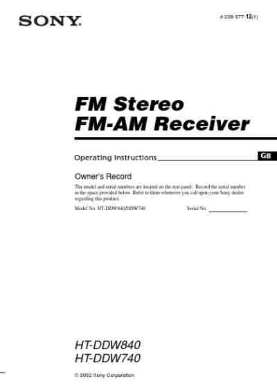 SONY HT-DDW740 Receiver download manual for free now